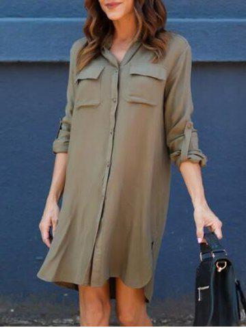 New Front Pockets Side Slit Shirt Dress ARMY GREEN M