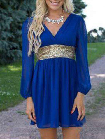 Affordable Chiffon Surplice Dress with Sequin BLUE L