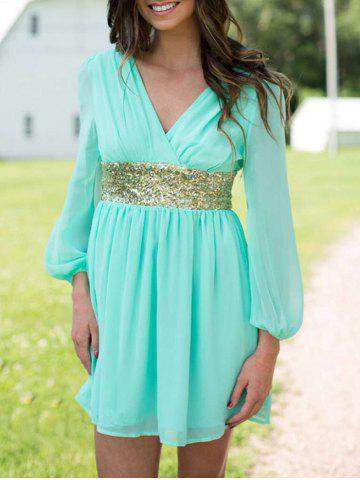Cheap Chiffon Surplice Dress with Sequin TURQUOISE L