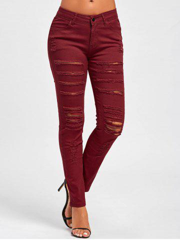 Outfit Distressed High Rise Colored Skinny Jeans RED XL