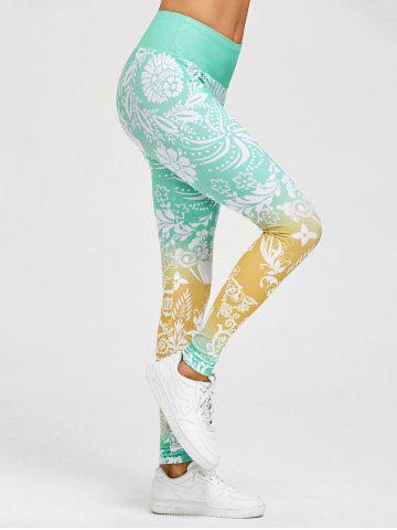 Hot Floral Print High Waisted Gym Leggings - 2XL GREEN Mobile
