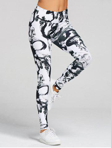 Unique Printed Skinny High Waisted Yoga Leggings WHITE AND BLACK L