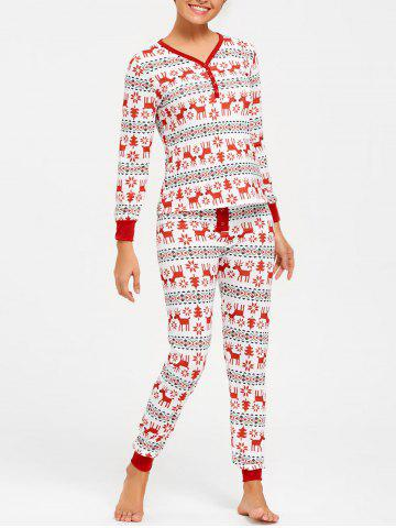 Trendy T Shirt with Pants Christmas Pajama Set - M COLORMIX Mobile