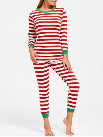 Trendy Striped T Shirt with Pants Christmas Pajama Set COLORMIX L