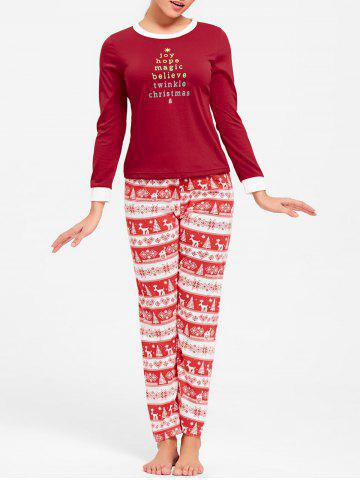 Shop T Shirt with Pants Christmas Pajama Set - L RED Mobile