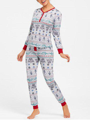 Sale T Shirt with Pants Christmas Pajama Set - M COLORMIX Mobile