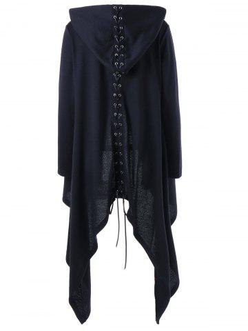 Chic Lace Up Hooded Asymmetrical Plus Size Coat - XL BLACK Mobile