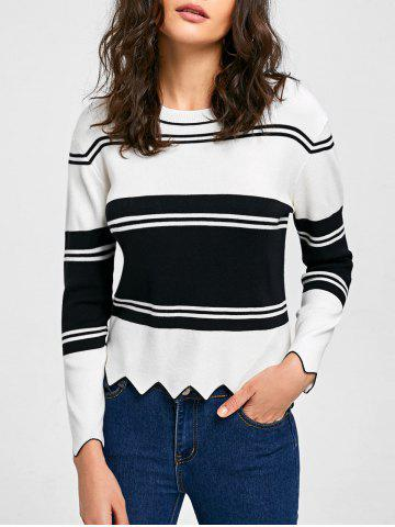 Cheap Drop Shoulder Asymmetric Trim Sweater WHITE AND BLACK L