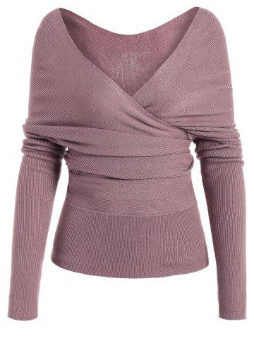 Discount Low Cut Surplice Knitted Top - L PINKISH PURPLE Mobile