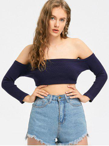 Chic Off The Shoulder Crop Knit Top