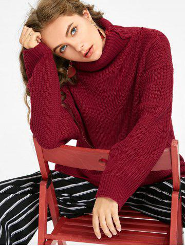 Affordable Turtleneck Oversized Chunky Sweater - ONE SIZE DEEP RED Mobile
