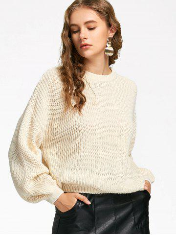 Trendy Lantern Sleeve Oversized Sweater - ONE SIZE OFF-WHITE Mobile