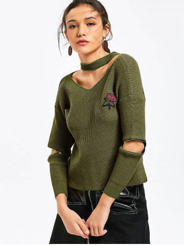Online Choker Rose Embroidered Zippered Sleeve Sweater
