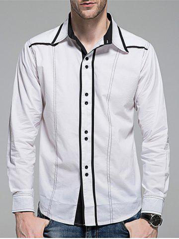 Fashion Contrast Trim Button Down Shirt