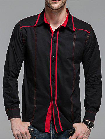 Hot Contrast Trim Button Down Shirt