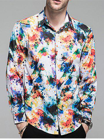 New Hidden Button Colorful Paint Splatter Shirt
