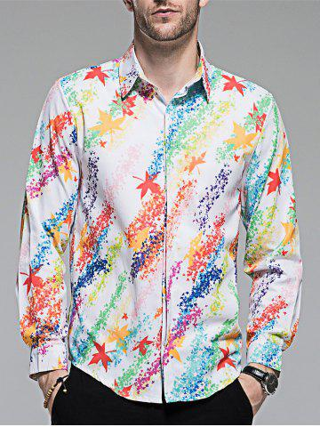 Outfit Hidded Button Maple Leaf Print Colorful Shirt