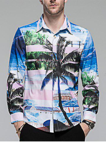 Store Hidden Button Coconut Tree Print Shirt