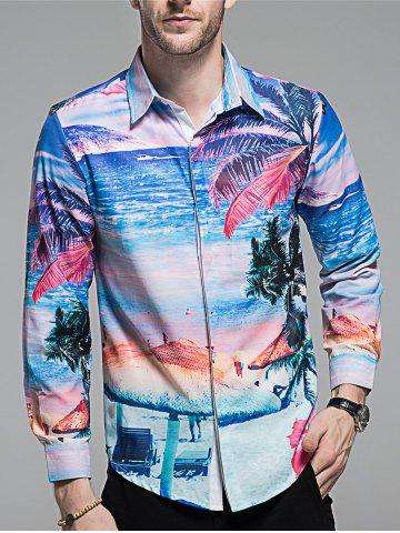 Unique Hidden Button Beach Printed Hawaiian Shirt