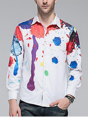 Discount Hidden Button Splatter Paint Colorful Shirt