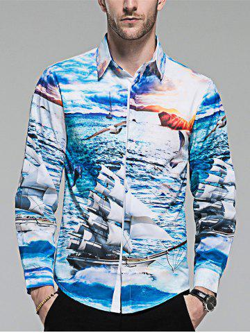 Best Hidden Button Sailing Ship Print Shirt