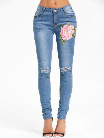 Cheap Flower Embroidery Distressed Denim Cuffed Jeans
