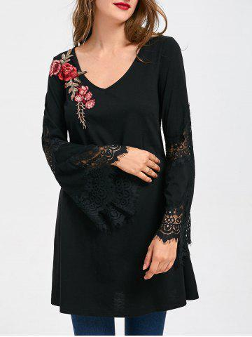 Cheap Lace Panel Flare Sleeve Embroidery Long Top