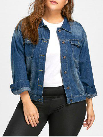 Hot Faded Plus Size Flamingo Embroidered  Denim Jacket