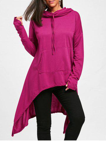 Oversized Drawstring High Low Long Hoodie
