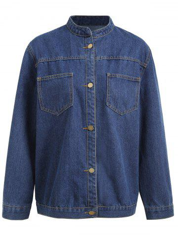 Fashion Plus Size Button Up Pocket Denim Jacket