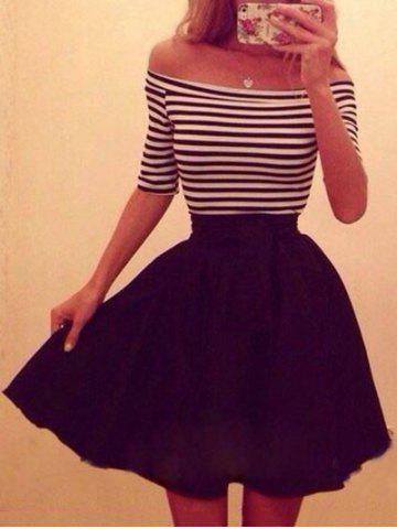 Half Sleeves Stripe Off The Shoulder Dress
