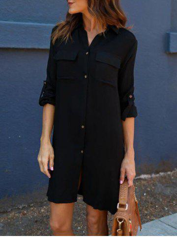 Cheap Front Pockets Side Slit Shirt Dress