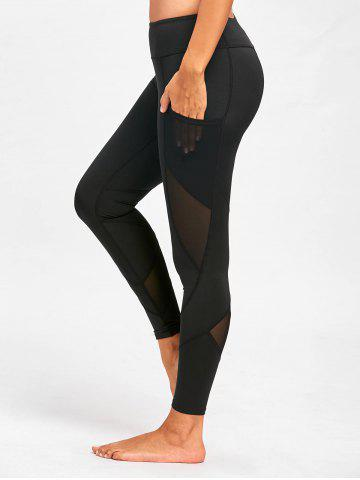 Fancy Mesh Insert Yoga Leggings with Pocket