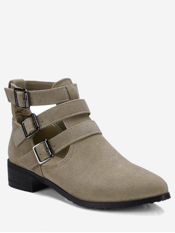 Cheap Ankle Buckle Strap Hollow Out Boots