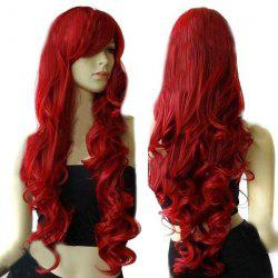 Ultra Long Side Bang Curly Cosplay perruque synthétique - Rouge