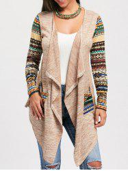 Snowflake Print Long Sleeve Draped Cardigan - COLORMIX 2XL