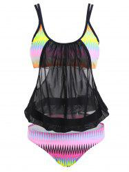 Mesh Sheer Printed Plus Size Swimsuit - COLORMIX XL