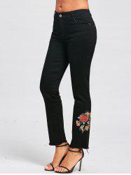 Floral Embroidery Zipper Fly Jeans -