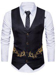 Single Breasted Belt Embroidered Waistcoat -