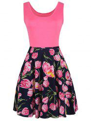 Fit and Flare Sleeveless Floral Print Dress - COLORMIX S