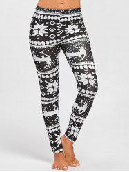 Deer Snowflake Pattern Christmas Leggings - BLACK WHITE M