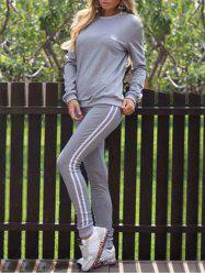Striped Panel Sporty Sweat Suit - GRAY M