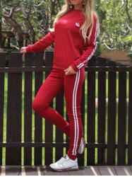 Striped Panel Sporty Sweat Suit - RED XL