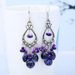 Beaded Tassel Bohemia Flower Design Dangle Boucles d'oreilles - Pourpre