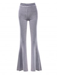 Striped Panel Maxi Flare Pants - GRAY L