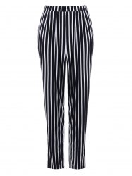 Stripe Print Tapered Pants - Noir Bande M