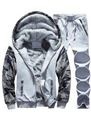 Flocking Camouflage Hoodie and Sweatpants Tracksuit -