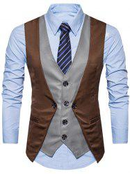 Single Breasted Color Block Faux Twinset Waistcoat -