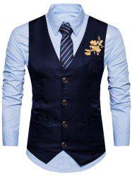 Floral Embroidered Single Breasted Waistcoat -