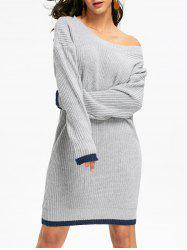 Drop Shoulder Chunky Mini Sweater Dress - GRAY ONE SIZE